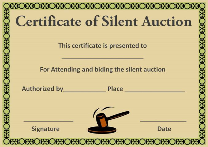 silent auction award certificates