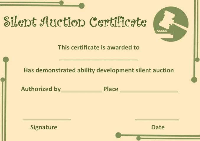 silent auction certificates 18 official and beautiful templates demplates