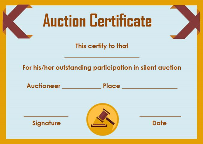 Silent auction donation certificate