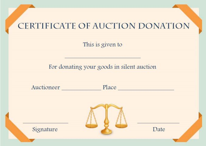 silent auction certificates 18 official and beautiful templates demplates. Black Bedroom Furniture Sets. Home Design Ideas