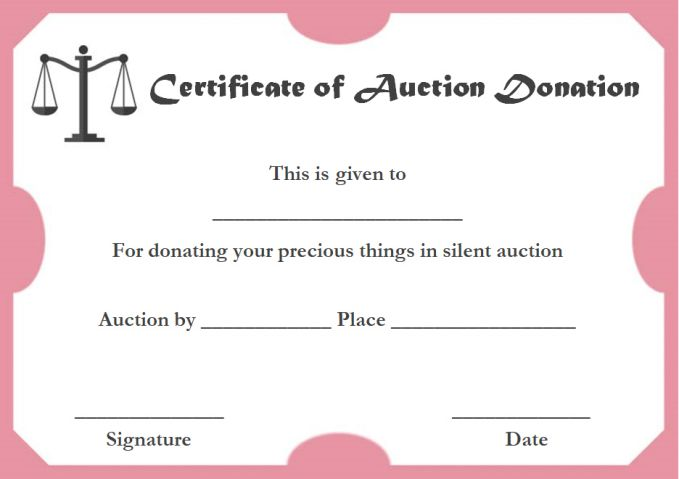 Silent auction donation certificate templates