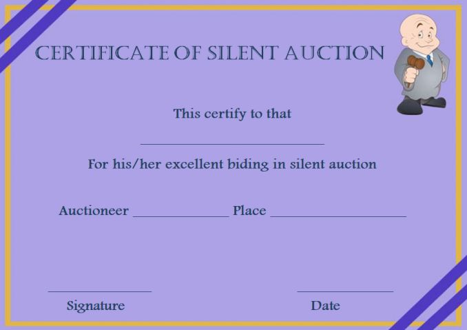 Silent auction donation certificates