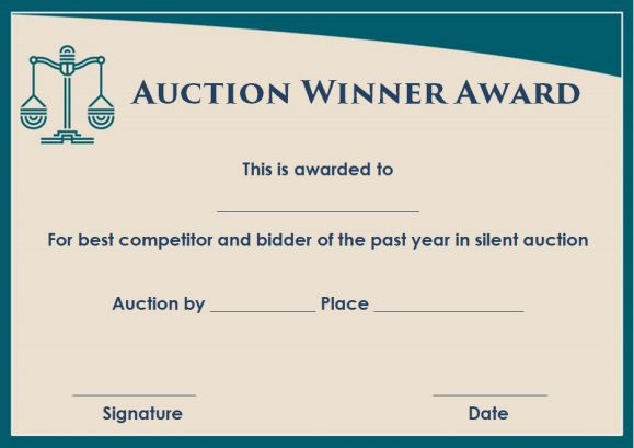 silent auction winner certificate template sample