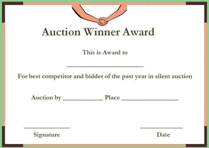 silent auction winner certificate templates