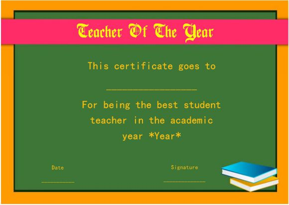 student teacher of the year award certificate