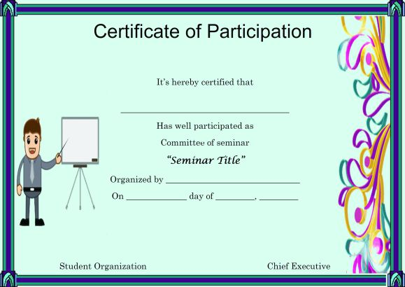 Template for Certificate of Partcipation in Seminar