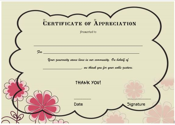 thank you certificate for donation template