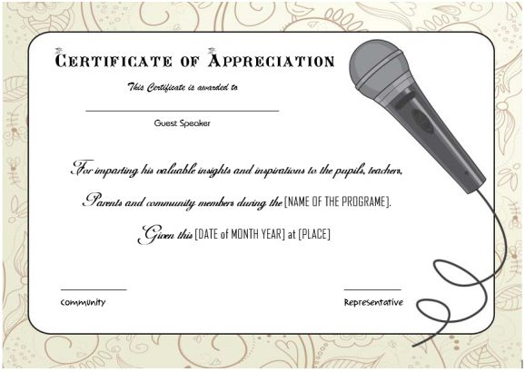 thank you certificate for guest speaker