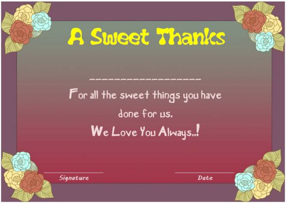 Thank you certificate for parents
