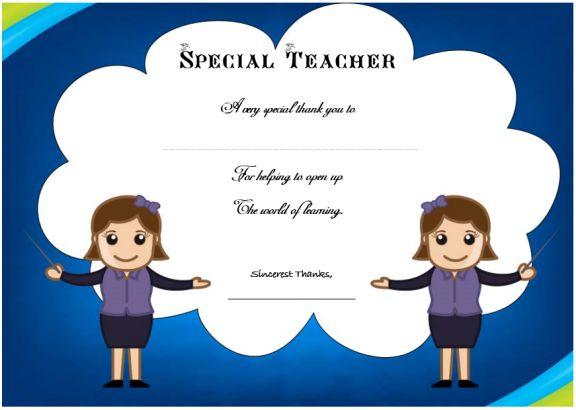 thank you certificate for teacher