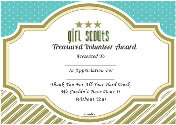 Thank you certificate girl scouts