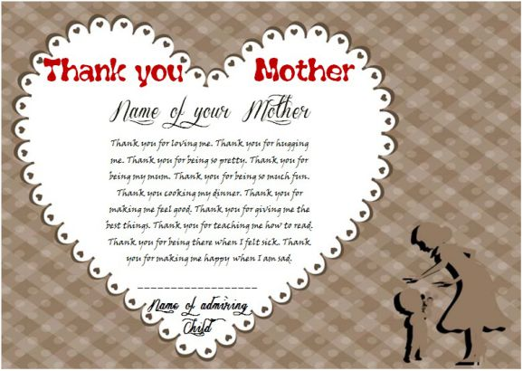Thank you mom certificate