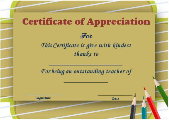Thank you teacher certificate template
