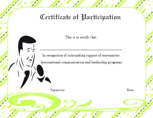 Toastmaster Certificate of Partcipation Template