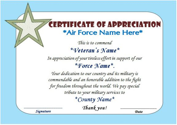 Veterans day thank you certificate