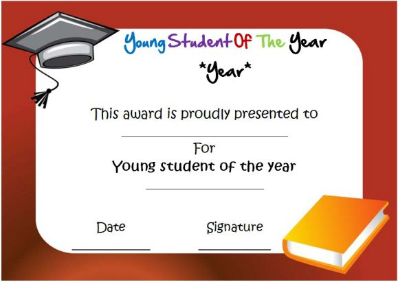 young student of the year award certificate