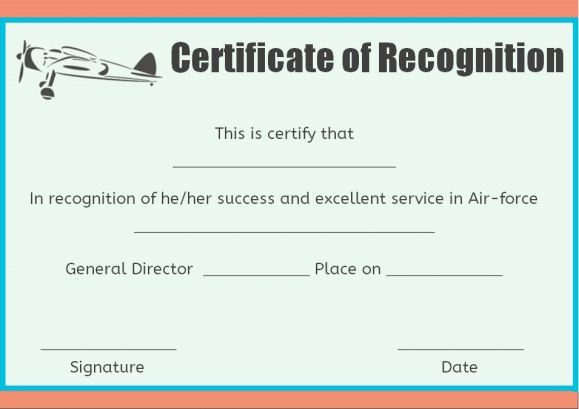 Air force certificate of recognition template