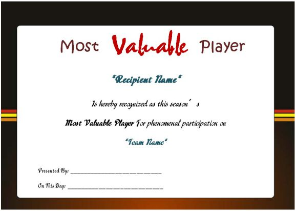 Netball Most Valuable Player Award Certificate