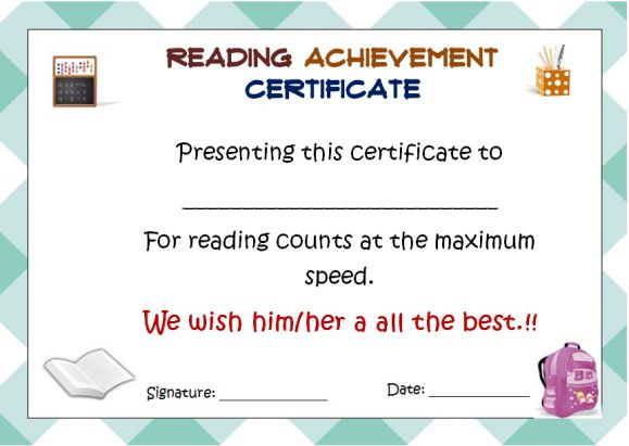 Reading Count Award Certificate 1