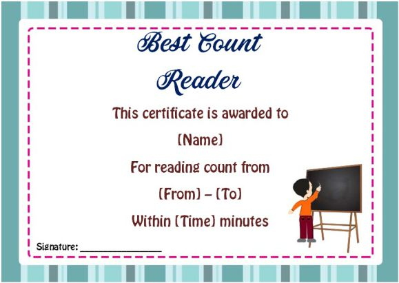 Reading Counts Awards Certificates