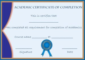 Academic Certificate of Completion Template
