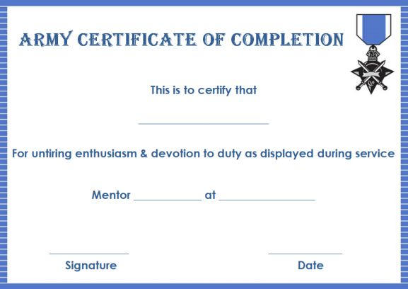 Certificate of completion 22 templates in word format for Army certificate of completion template