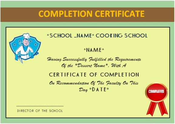 Basic Cooking Class Completion Certificate