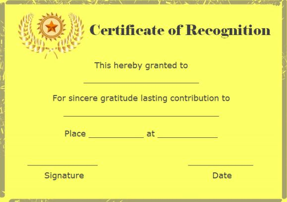 certificate of recognition and appreciation template