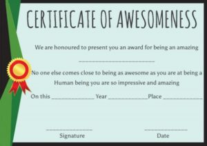 Certificate of Awesomeness Template Certificates