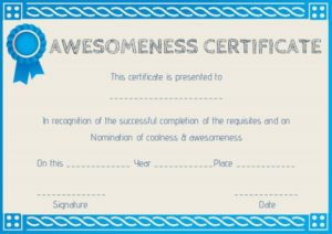 Certificate of Awesomeness Template Word