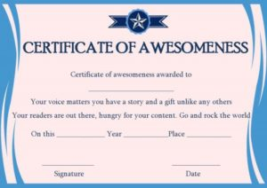Certificate of Awesomeness Word Templates