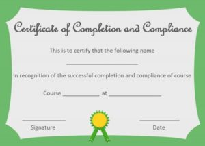 Certificate of Completion and Compliance Template