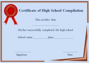 Certificate of Completion High School Template