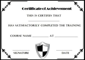 Certificate of Completion Template Black and White