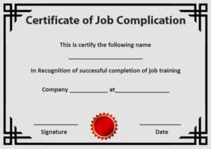 Certificate of Job Completion Template