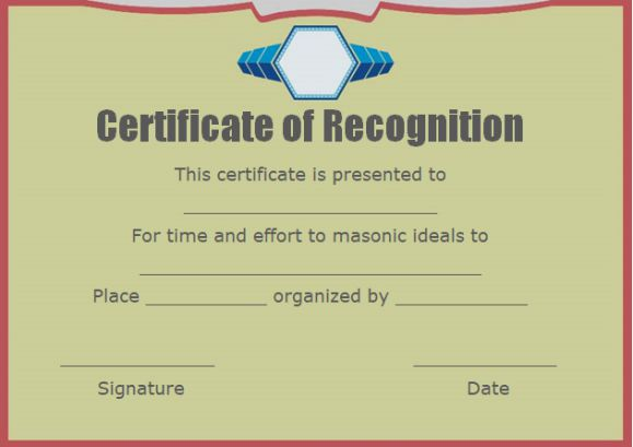 certificate of recognition and appreciation
