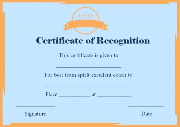 certificate of recognition as coach
