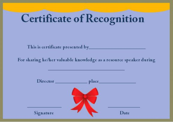 certificate of recognition as resource speaker