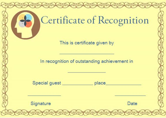 certificate of recognition best in math