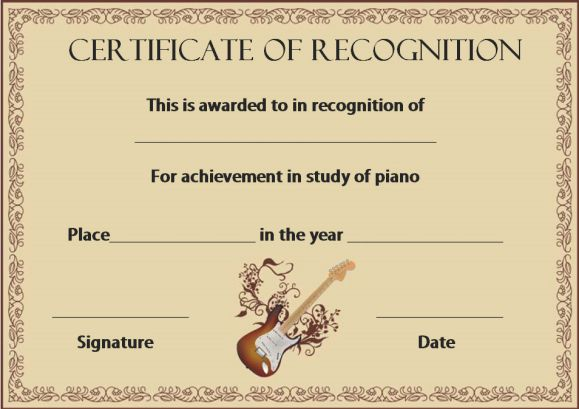 certificate of recognition music