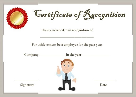 certificate of recognition template for employee