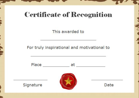 certificate of recognition template for word