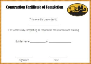 Construction Certificate of Completion Template Free