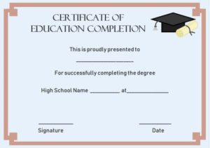 Continuing Education Certificate of Completion Template