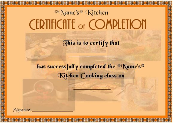 Cooking Classes Completion Certificate For Beginners
