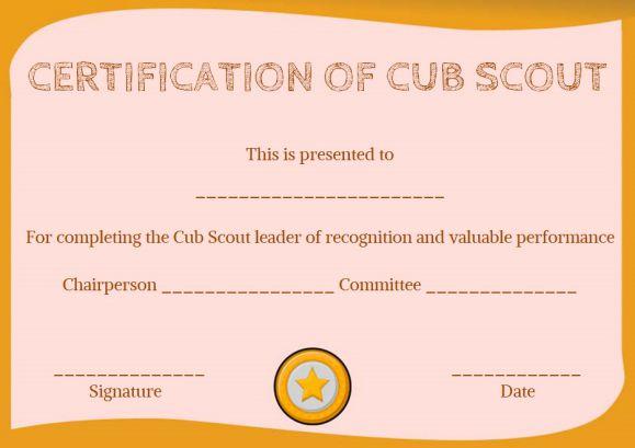 Cub Scout Advancement Certificate