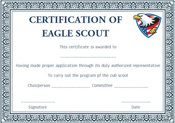 Scout certificates template 12 free printables in word for Eagle scout certificate template