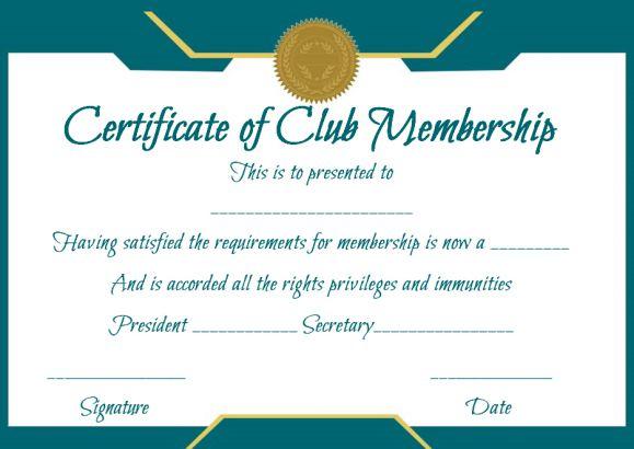 Free Club Membership- Certificate Template