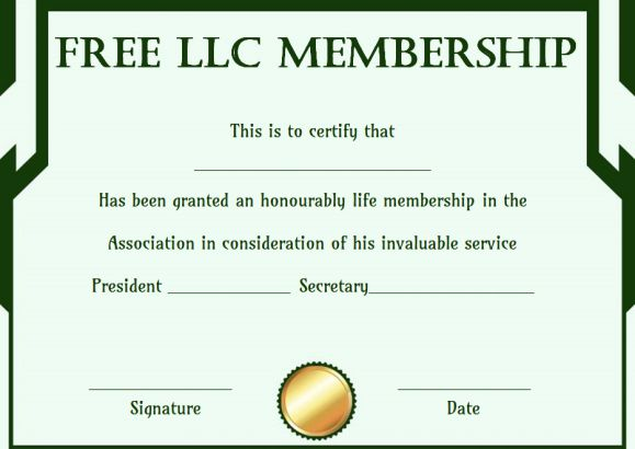 llc membership certificate template - free membership certificates 14 templates in word format