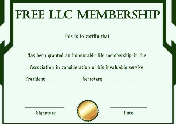 Free llc Membership Certificate Template